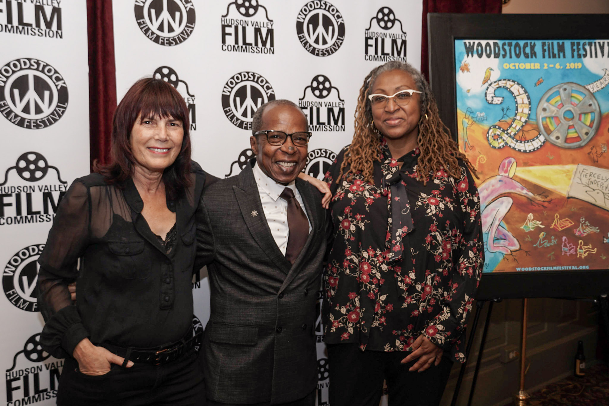 (From left) Woodstock Film Festival co-founder and executive director Meira Blaustein with Billy Mitchell and Lisa Cortes