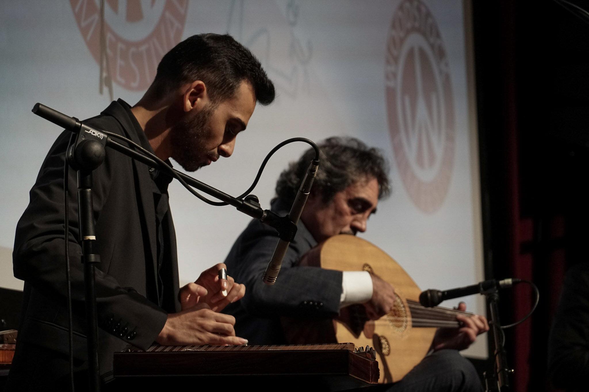 Firas Zreik (left) and Simon Shaheen (right) performing onstage at The Woodstock Playhouse