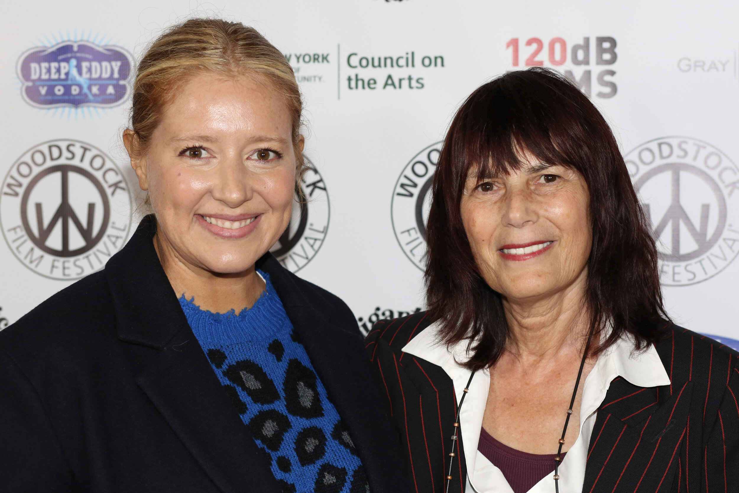 Honey Boy  producer Daniela Taplin (left) with Woodstock Film Festival co-founder and executive director Meira Blaustein (right)