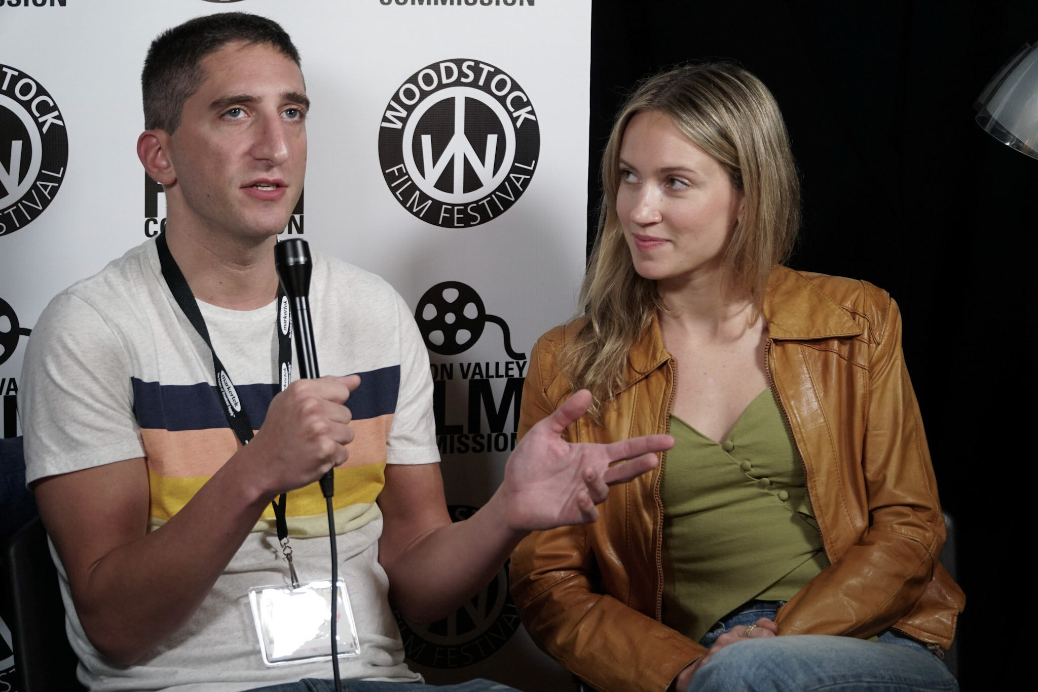 Inside the Rain  director Aaron Fisher (left) with actress Ellen Toland (right)