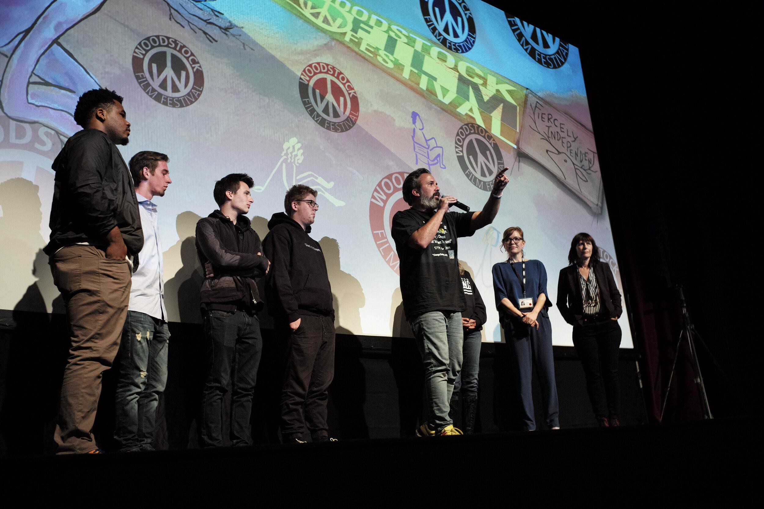 (From left) Jammal Lemmy, Sam Zeif, Cameron Kasky, Matt Deitsch, Manuel Oliver, Patricia Oliver, and Cheryl Horner speak following the world premiere of  Parkland Rising.
