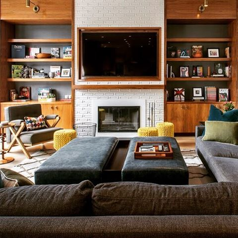 Love this room for a great family #livingroom #openfloorplan #fireplace #cozy #warmcolors #walnut #wood #ariannsabrainteriors #interiordesign #interiordecor