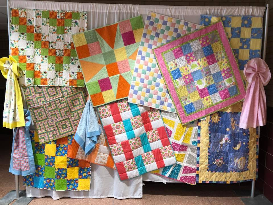 IVQG members displayed their charity baby quilts at the 2018 IVQG Quilt Show at Celebrations 150. These quilts were donated to the maternity ward at OSF St. Elizabeth Hospital in July of 2018.