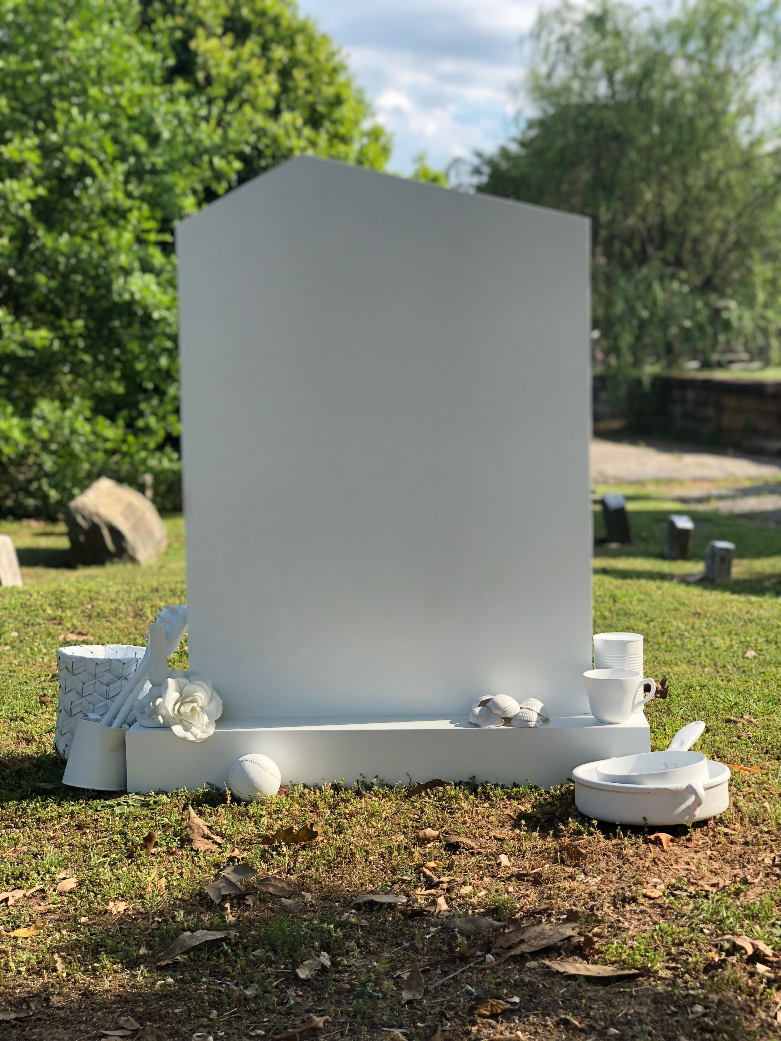 """Day time installation shot of """"Here Lies"""""""