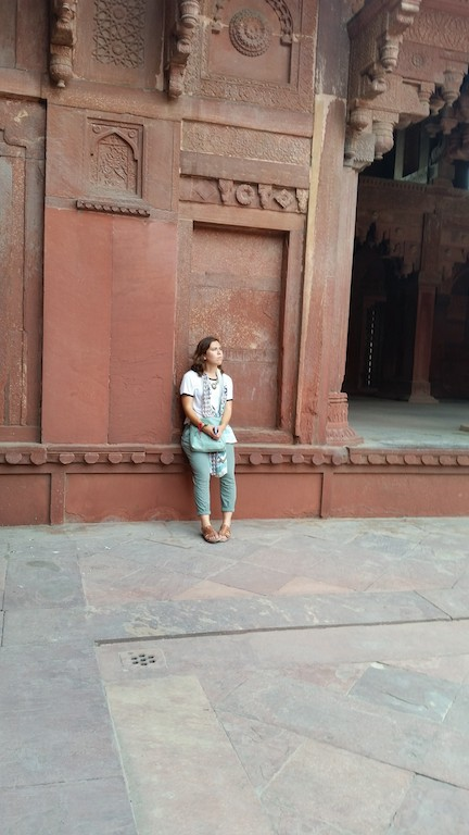 Student reflecting in India. Study Abroad 2015
