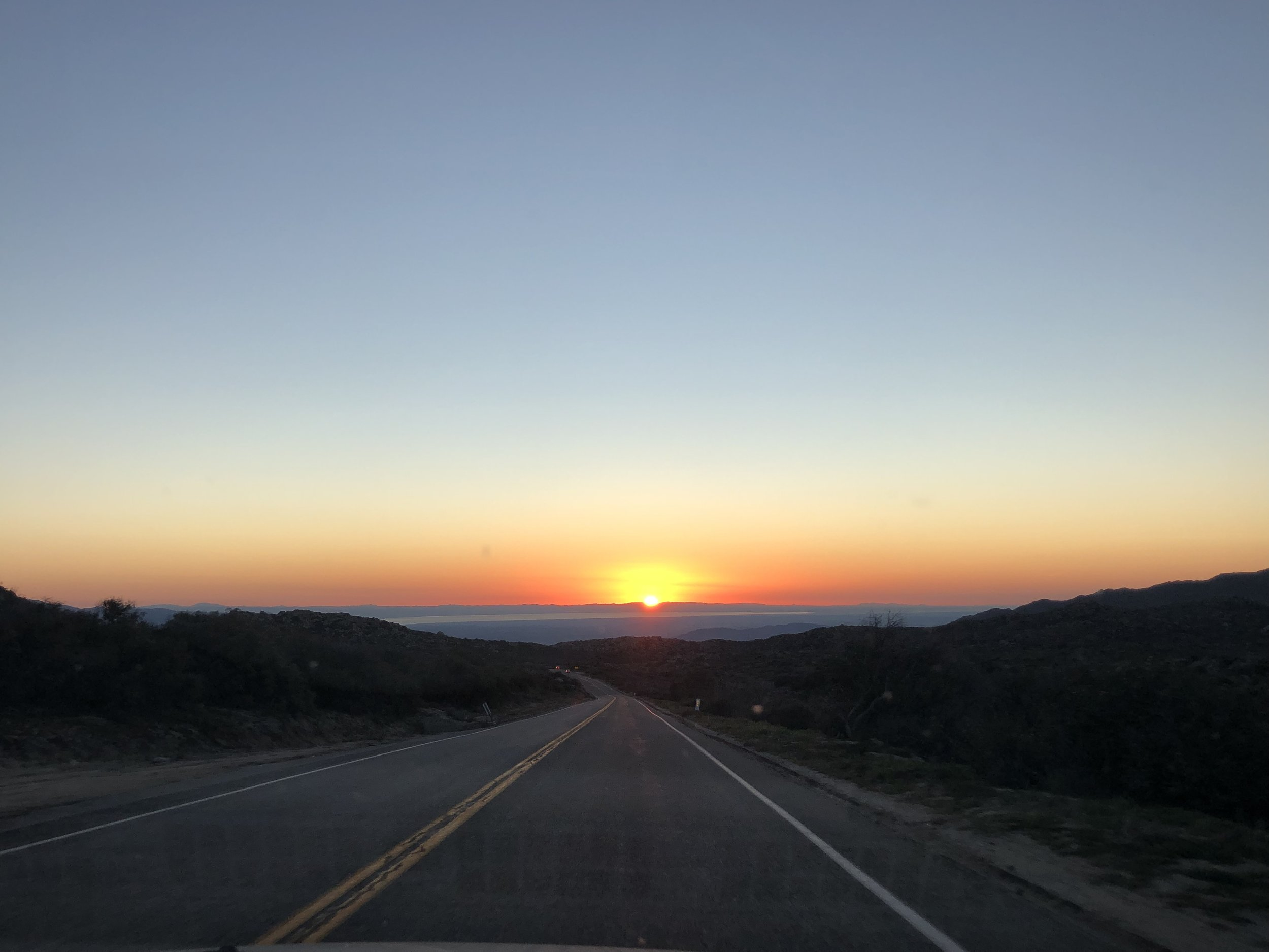 Sunrise on the highway heading to the super bloom. 2019.