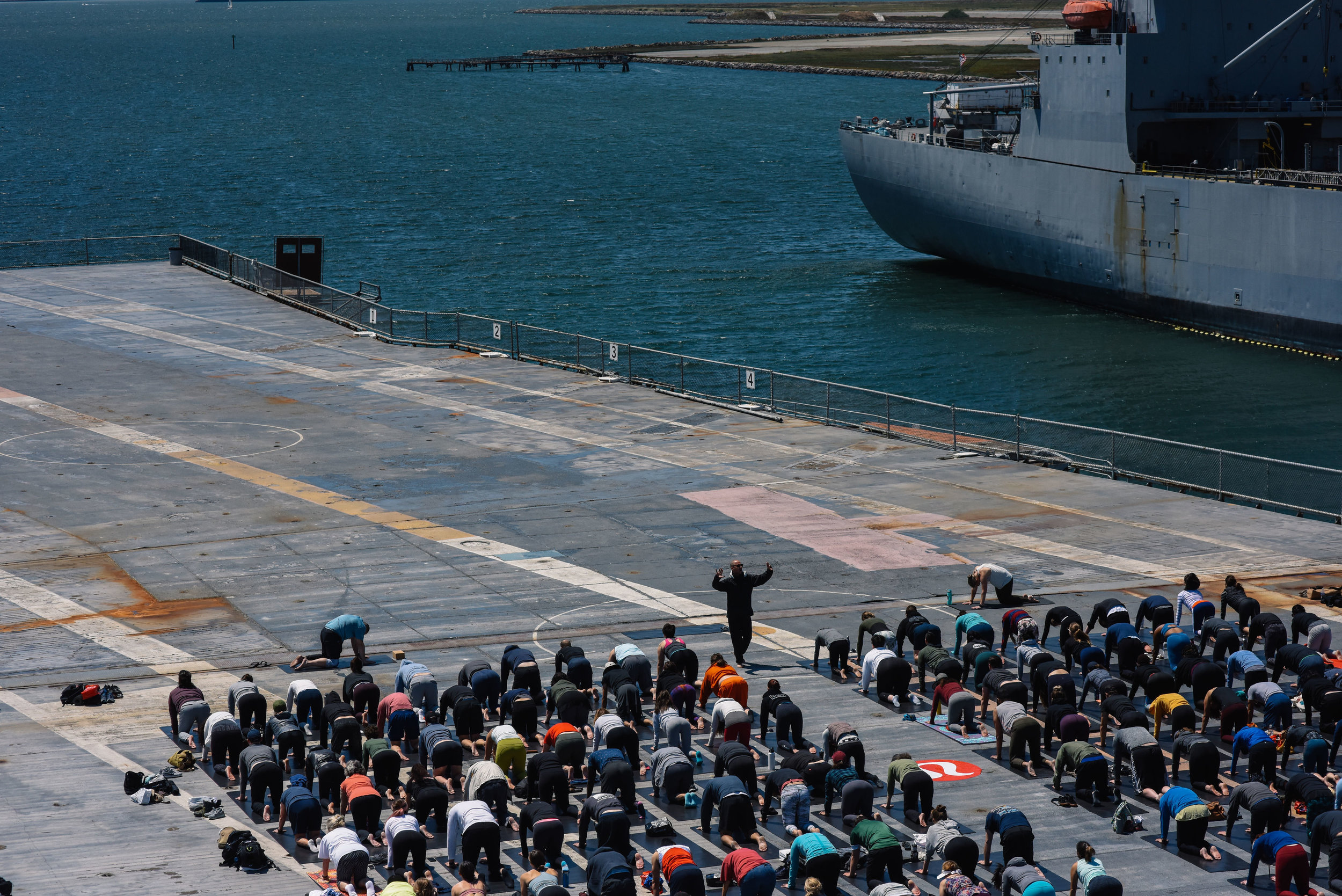 Teaching to 200 yogis aboard the USS Hornet San Francisco June 2019