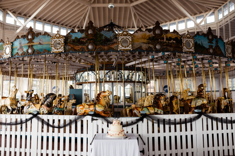 Halloween themed wedding cake with carousel