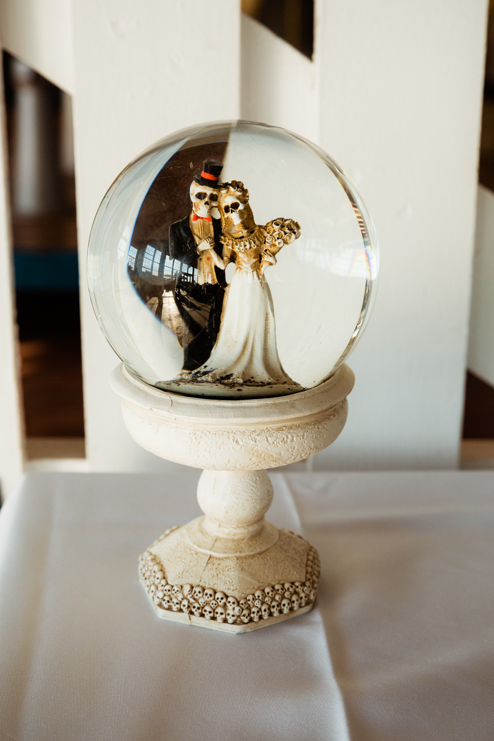 Day of the dead and halloween themed wedding snow globe