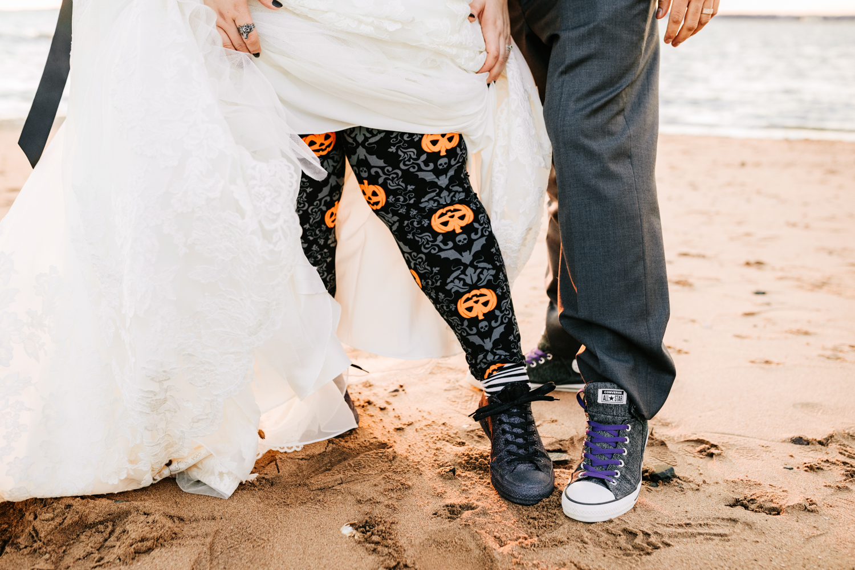 Bride wearing halloween themed leggings on wedding day