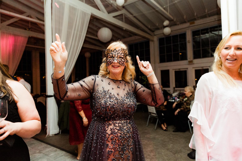 Masquerade mask dancing wedding day