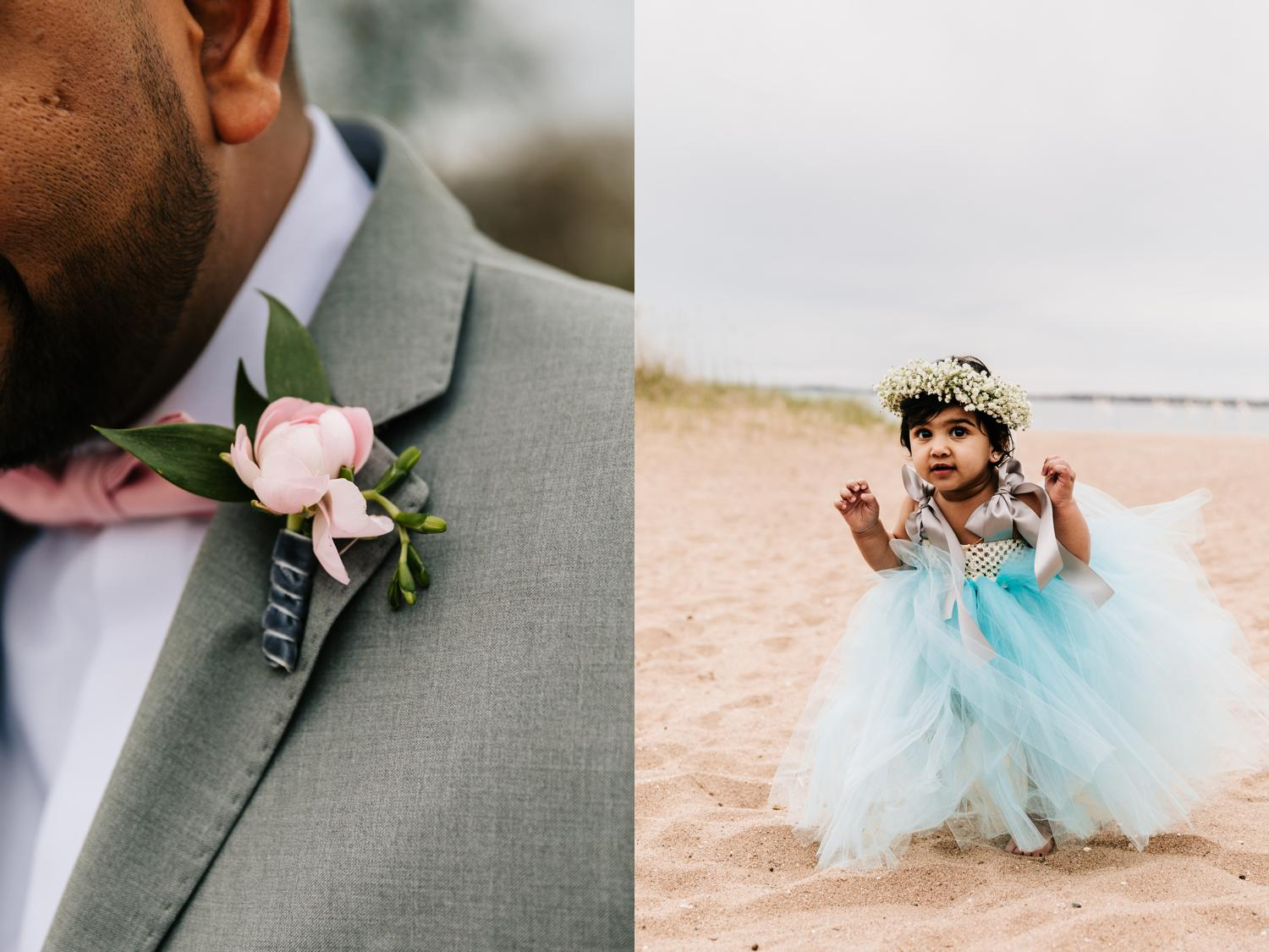 Blue flower girl dress for intimate beach wedding