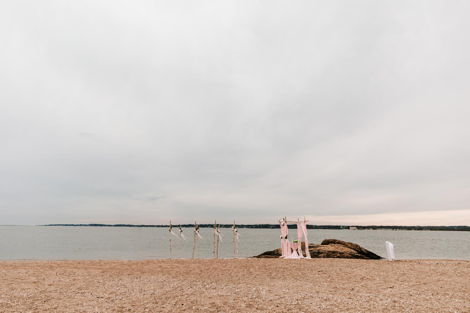 Beach ceremony setup for wedding day