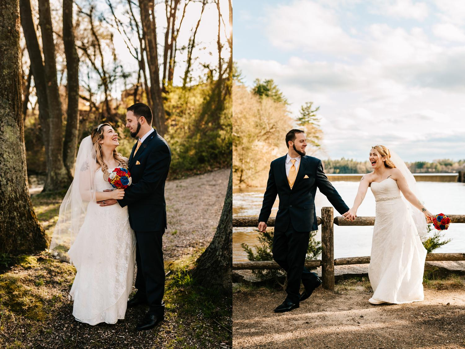 Tattooed bride and groom walking through park at golden hour