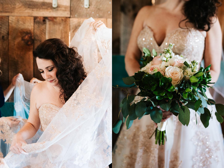 Bride holding spring wedding bouquet in Santa Fe