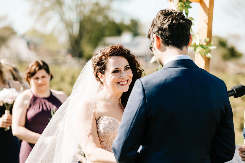 Bride looking at groom during wedding ceremony in El Paso