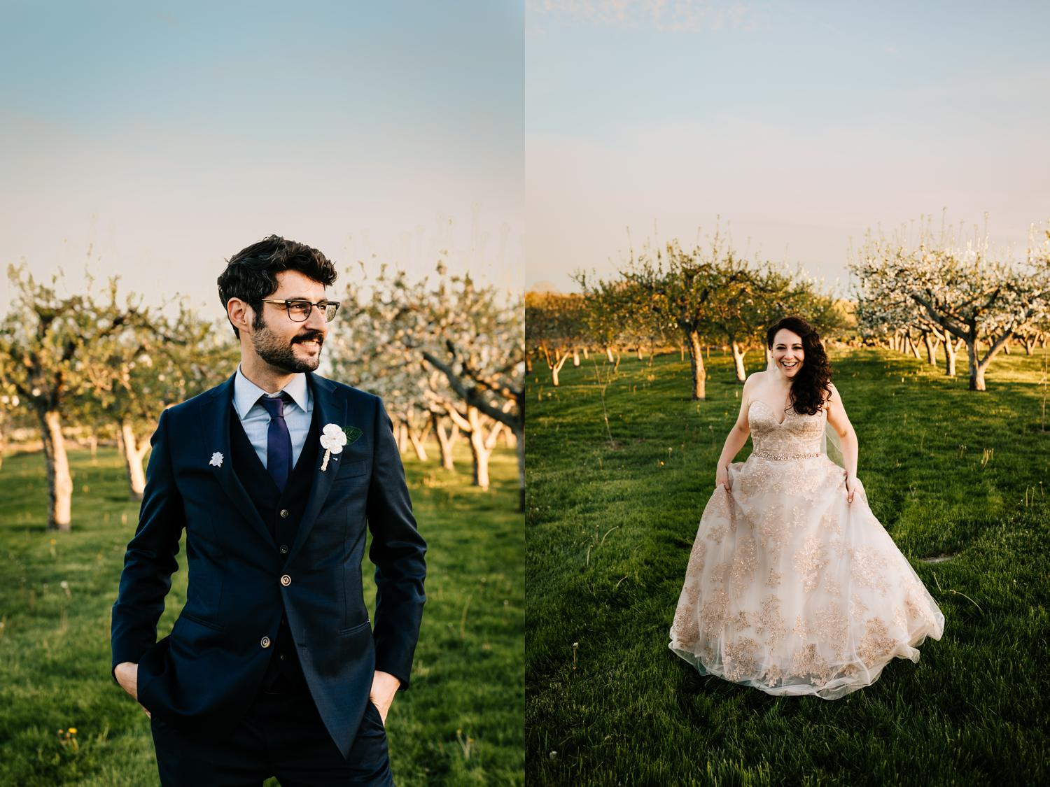 Bride and groom portraits in cherry blossom field in Santa Fe