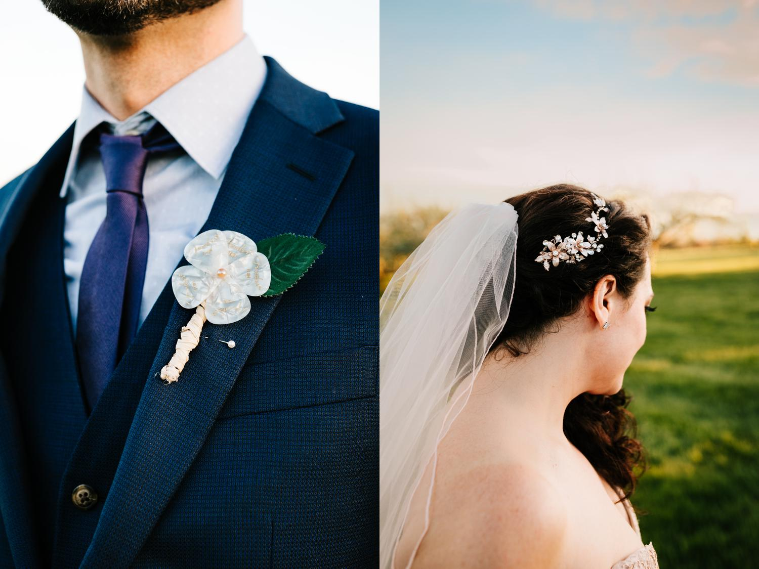 Guitar pick boutonniere and bride hairpiece for spring wedding