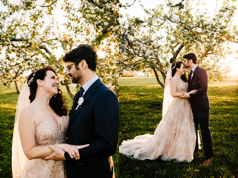 Bride and groom being intimate in tree field in Lubbock