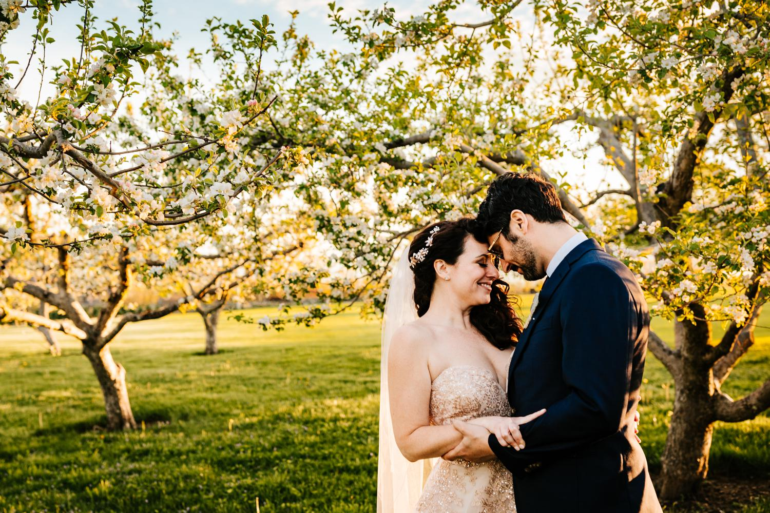 Intimate bride and groom in tree blossoms in El Paso