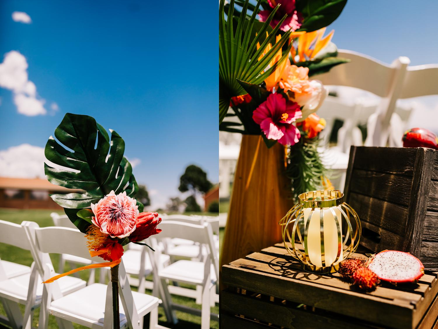 Colorful tropical wedding ceremony arrangements for New Mexico wedding