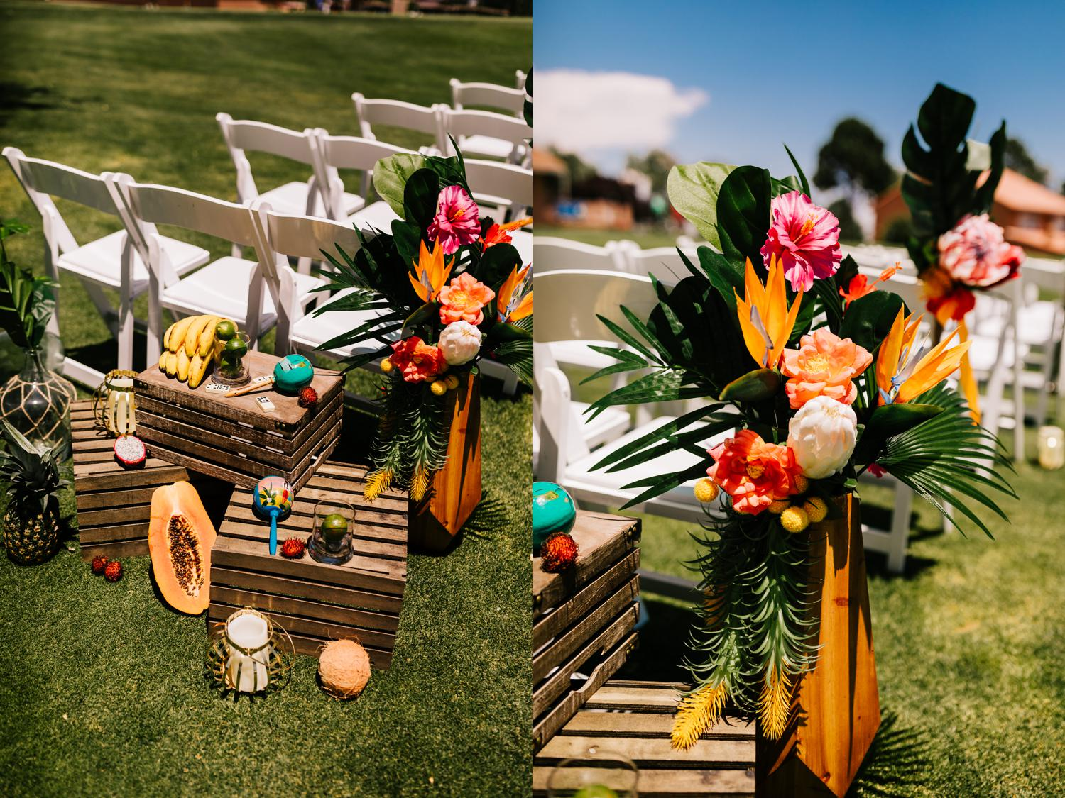 Colorful tropical themed Albuquerque wedding decorations and florals