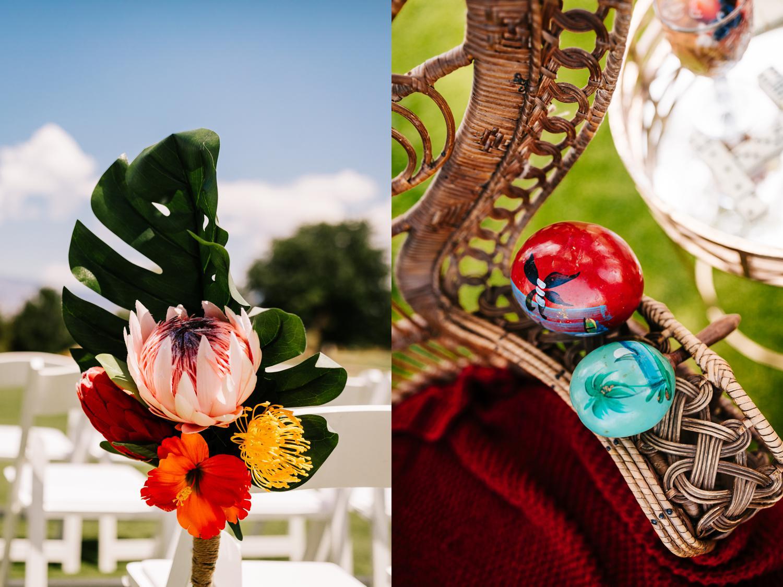 Tropical Albuquerque wedding details of flowers and maracas
