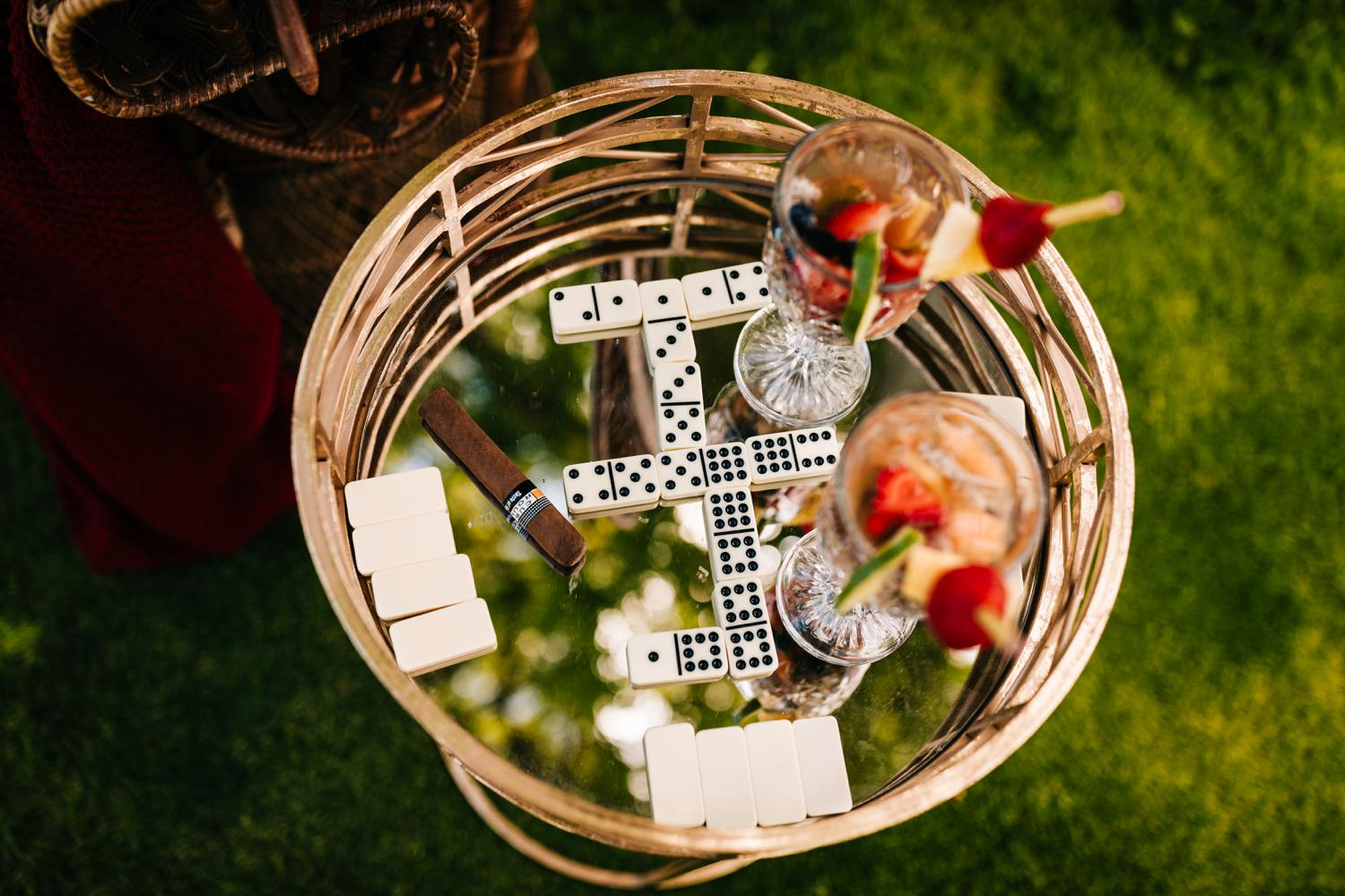 Cuban themed Albuquerque wedding with dominos and fruit