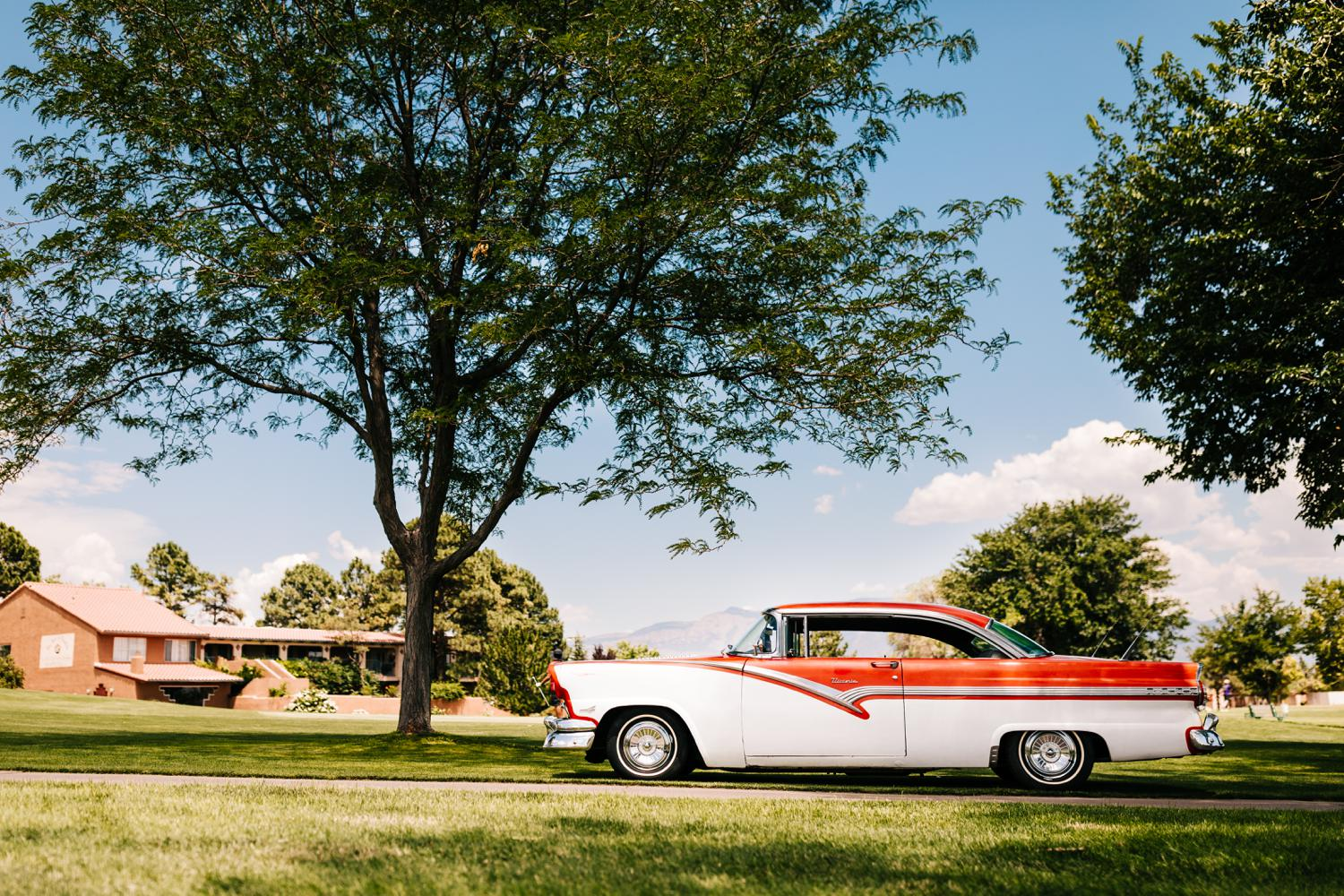 Vintage car for New Mexico themed wedding