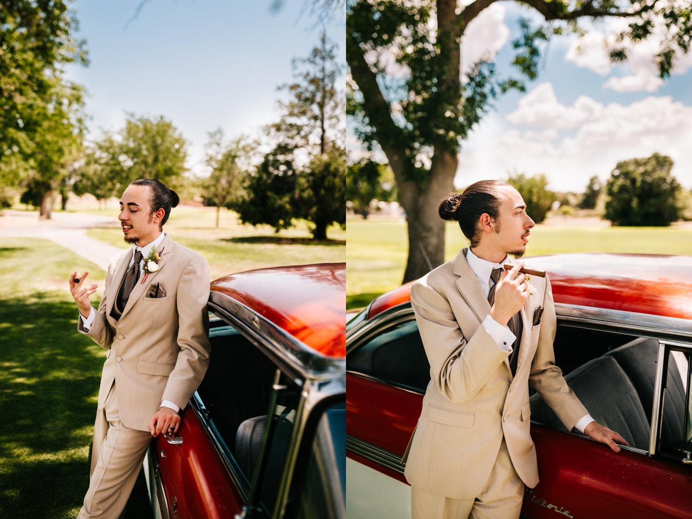 New Mexico groom fashion wedding day tan tuxedo