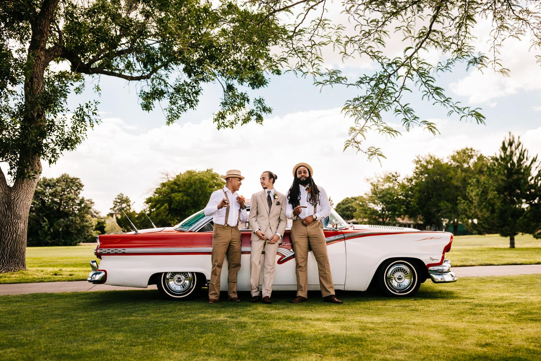 Groomsmen wedding attire for Havana themed wedding in Albuquerque, New Mexico
