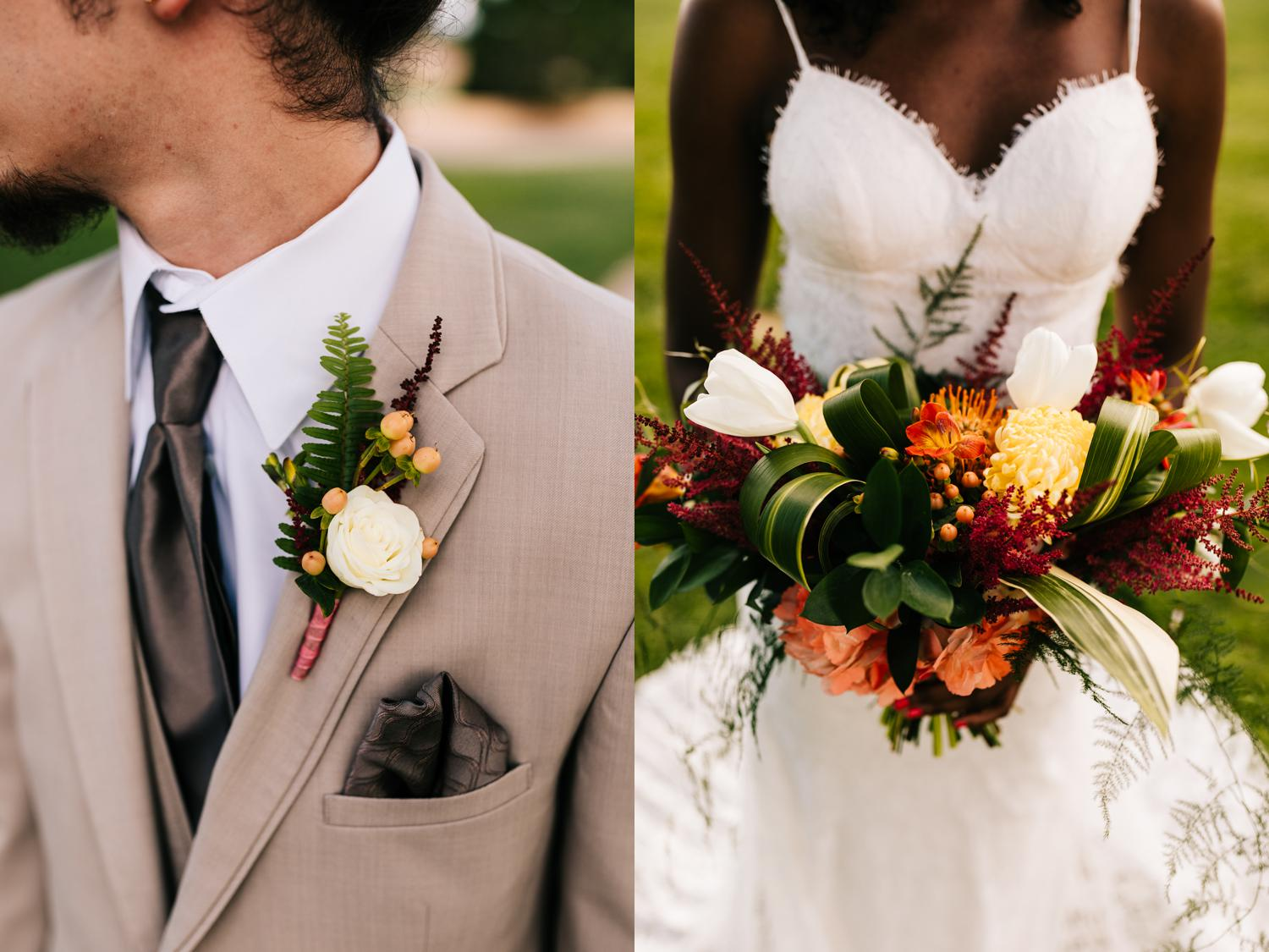 Tropical themed boutonniere and bouquet for tropical New Mexico wedding