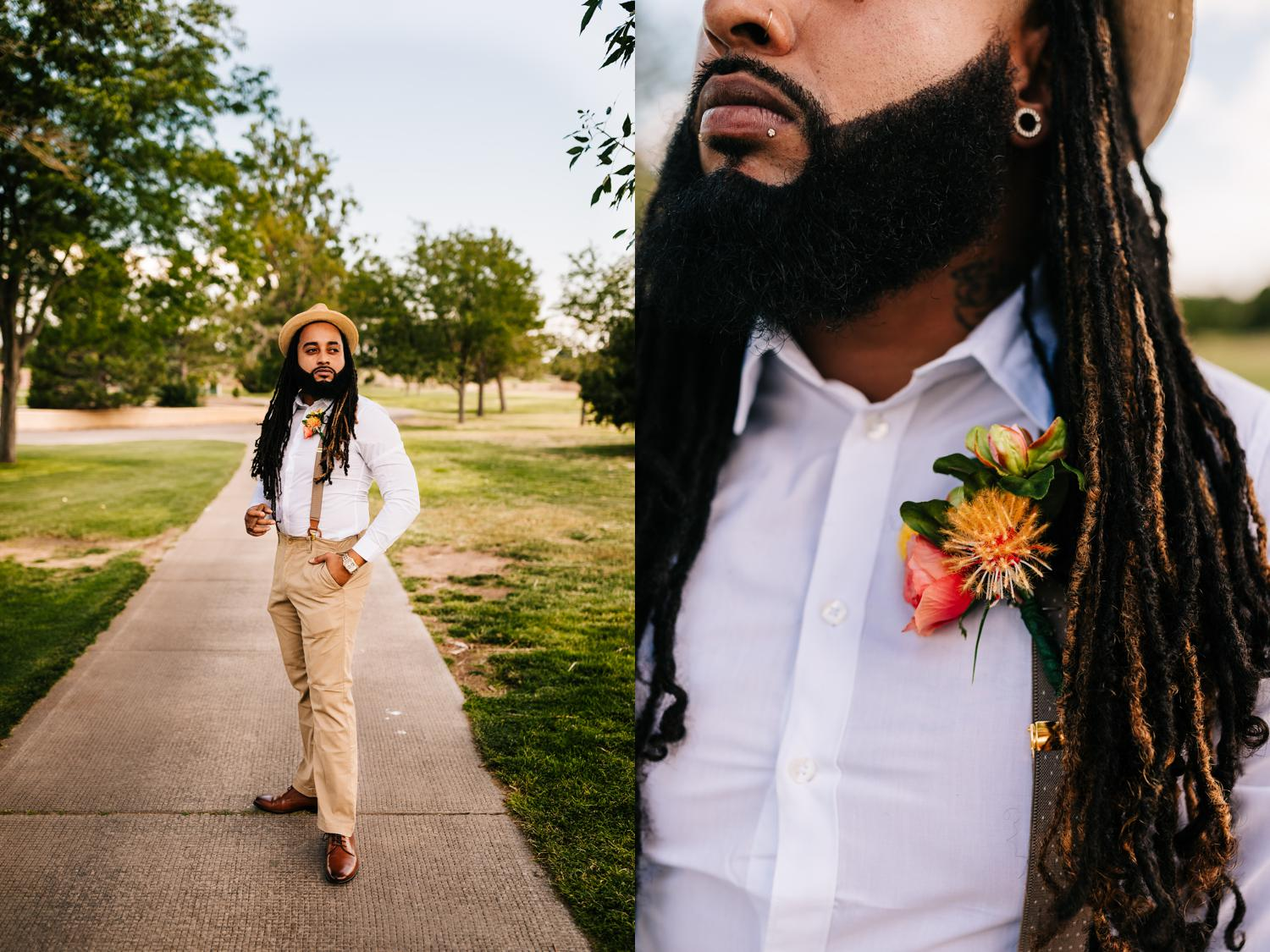 Groomsman attire and tropical boutonniere for New Mexico wedding