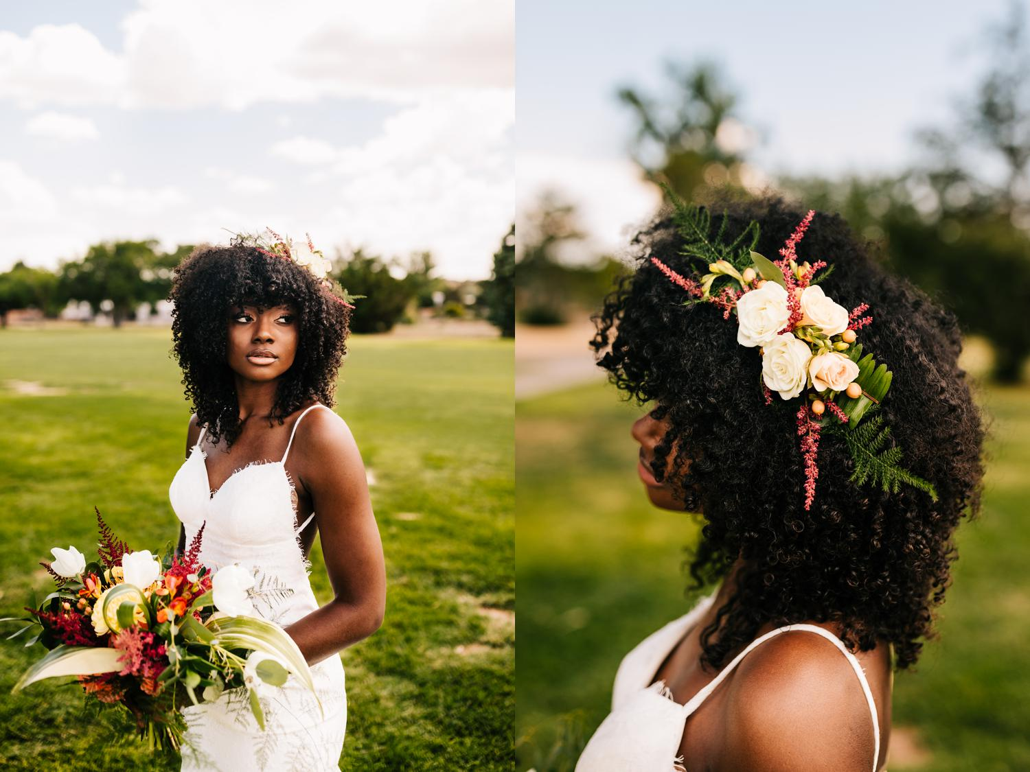 Hair ideas and accessory for black bride in New Mexico wedding