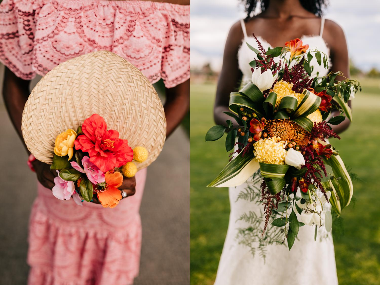 Vivid, colorful bouquet and fan for Cuban themed Albuquerque Wedding