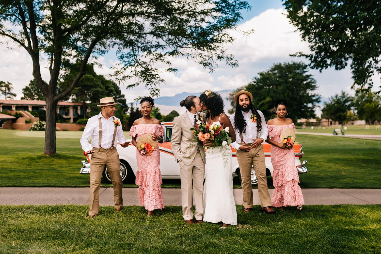 Fun bridal party at Sandia Mountains, New Mexico