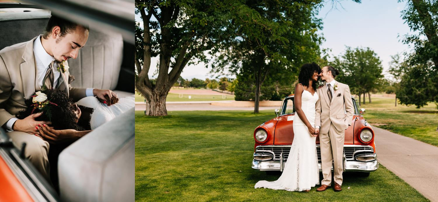 Bride and groom with vintage getaway car for tropical, Havana wedding in New Mexico