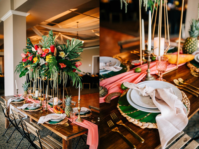 Tropical themed reception decorations for Albuquerque wedding