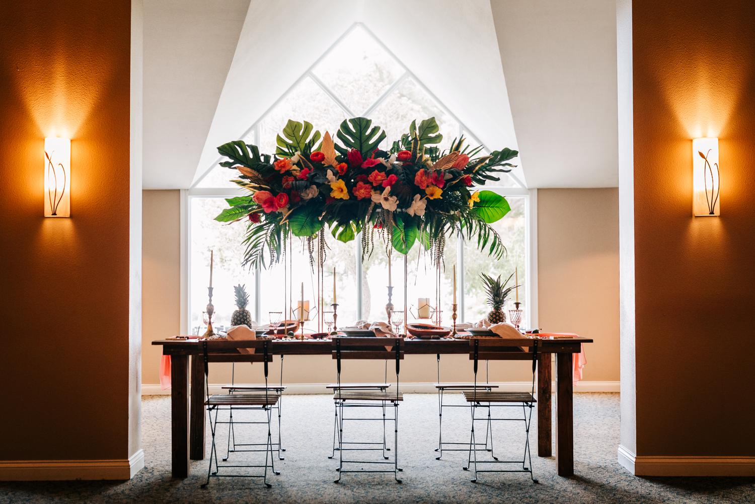 Large floral centerpiece for relaxing Albuquerque wedding