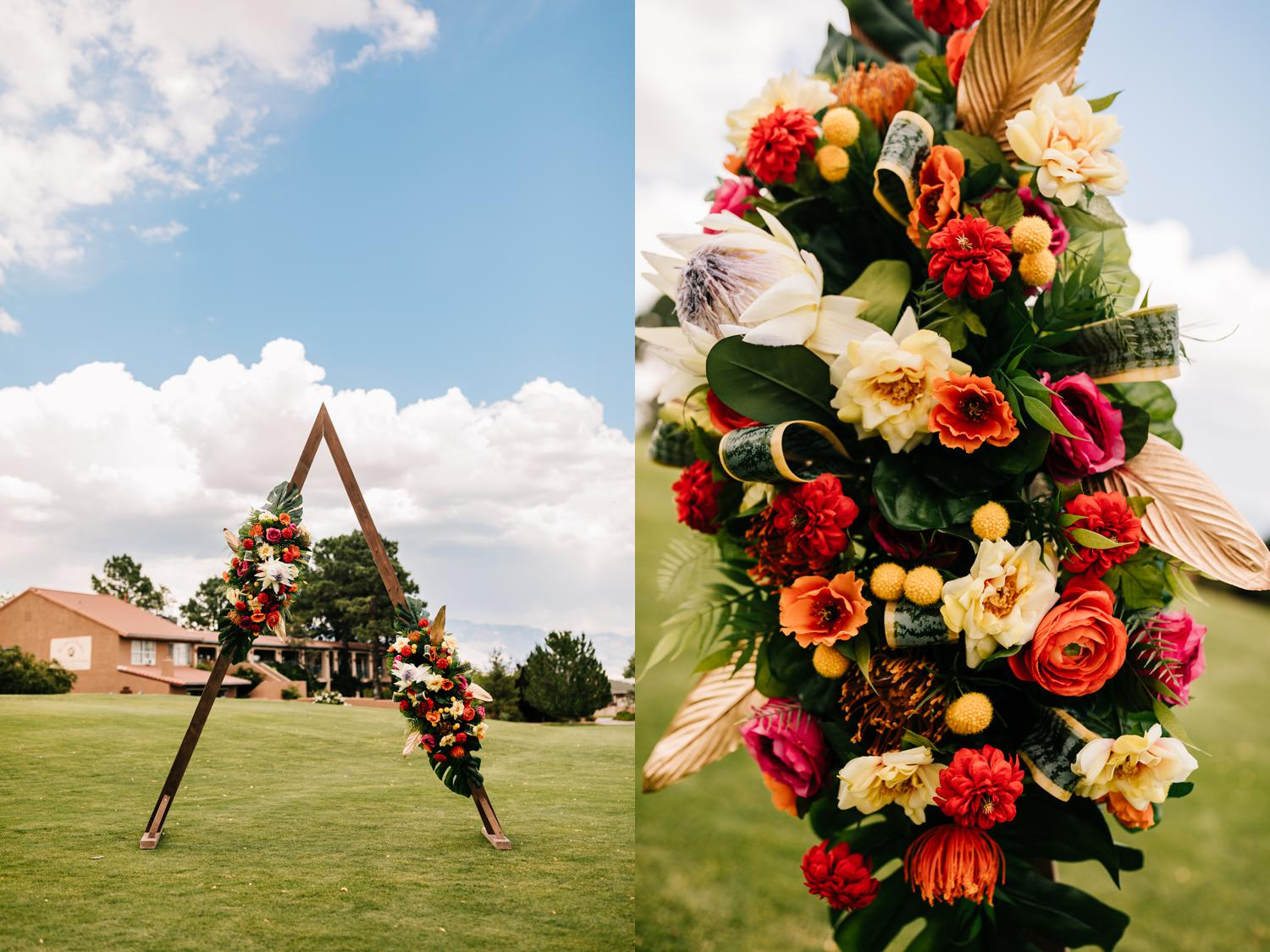 Bright, vivid decorations for Cuban themed wedding ceremony in New Mexico