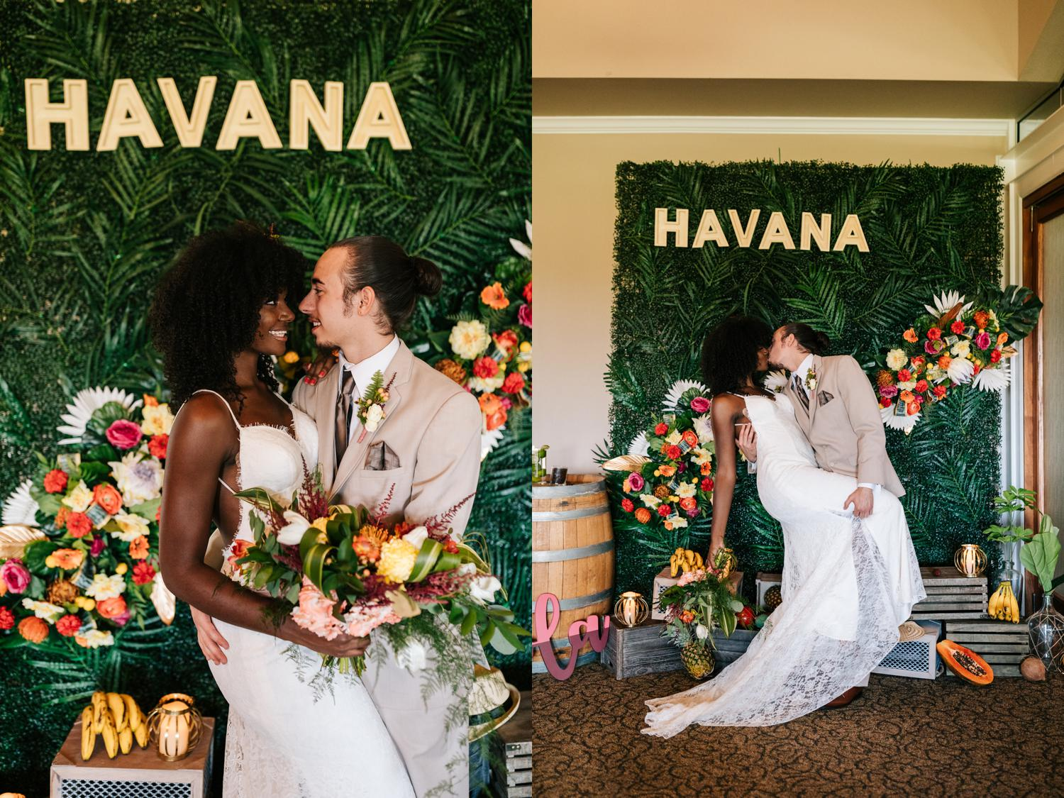Havana themed photo booth for wedding reception in New Mexico