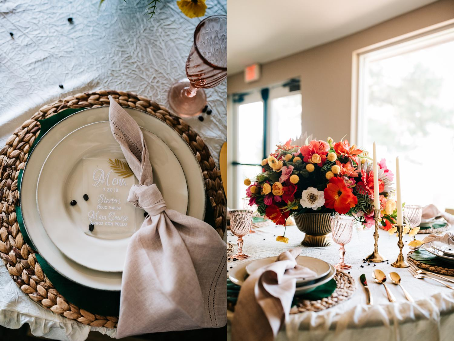 Plate sets and florals for wedding reception tables in Albuquerque, New Mexico