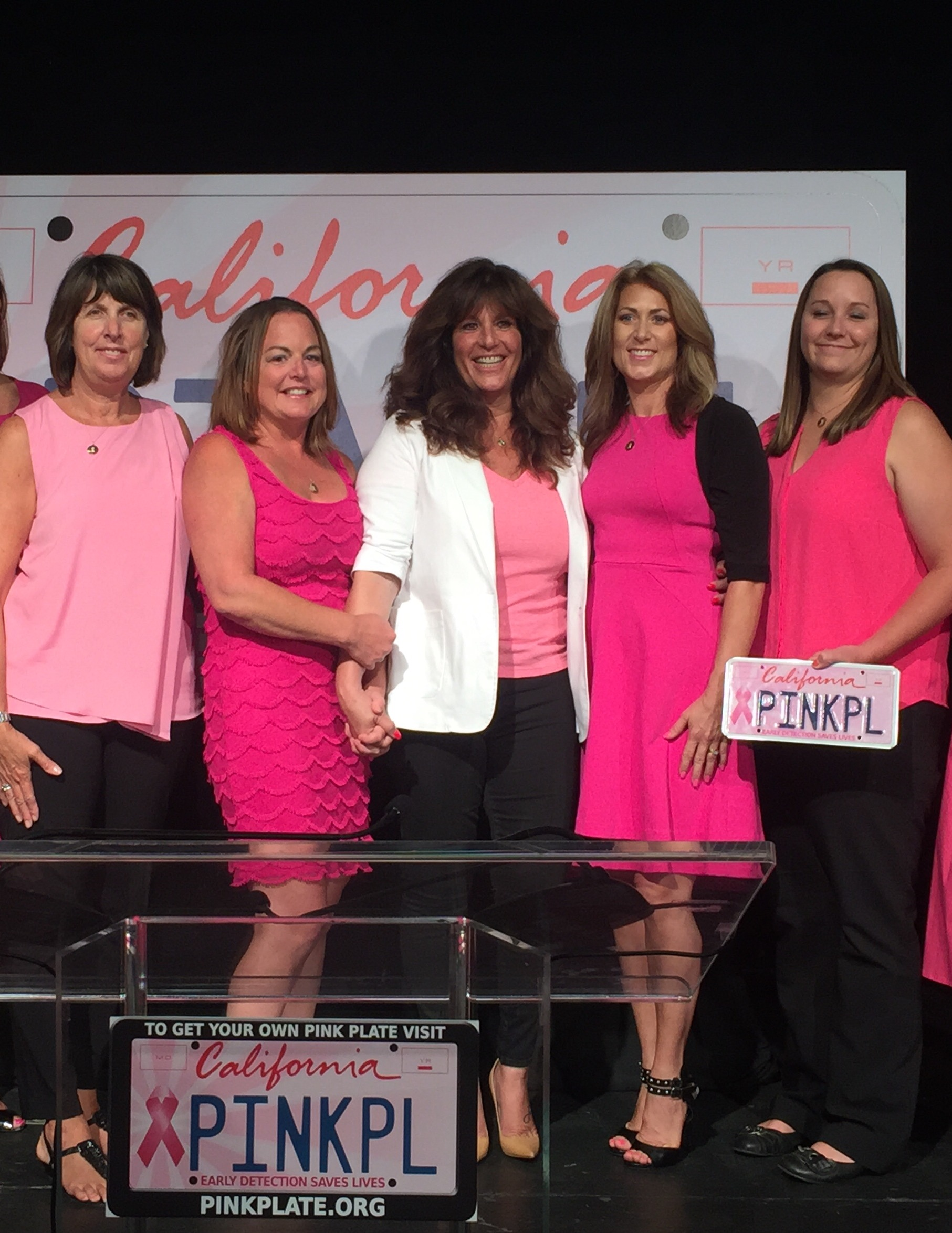 Pictured above: Founders of California Pink Plate. The Grand National hopes to help the organization reach the DMV requirement of 7,500 paid orders which will then move the Pink Ribbon license plate into production.