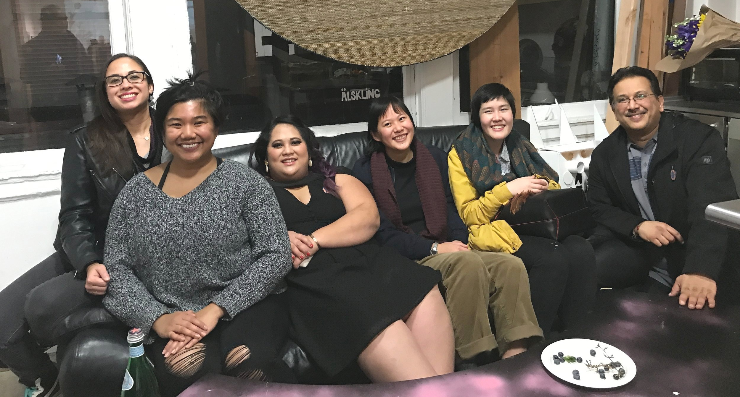 """Jenna Peng with the API Cultural Center team - Melanie Elvena, Diana Li, Vinay Patel, Dara Del Rosario of SOMArts Cultural Center, and Paloma of PapaLoDown Agency, at Nancy Hom's exhibit """"Passionate Engagement""""."""