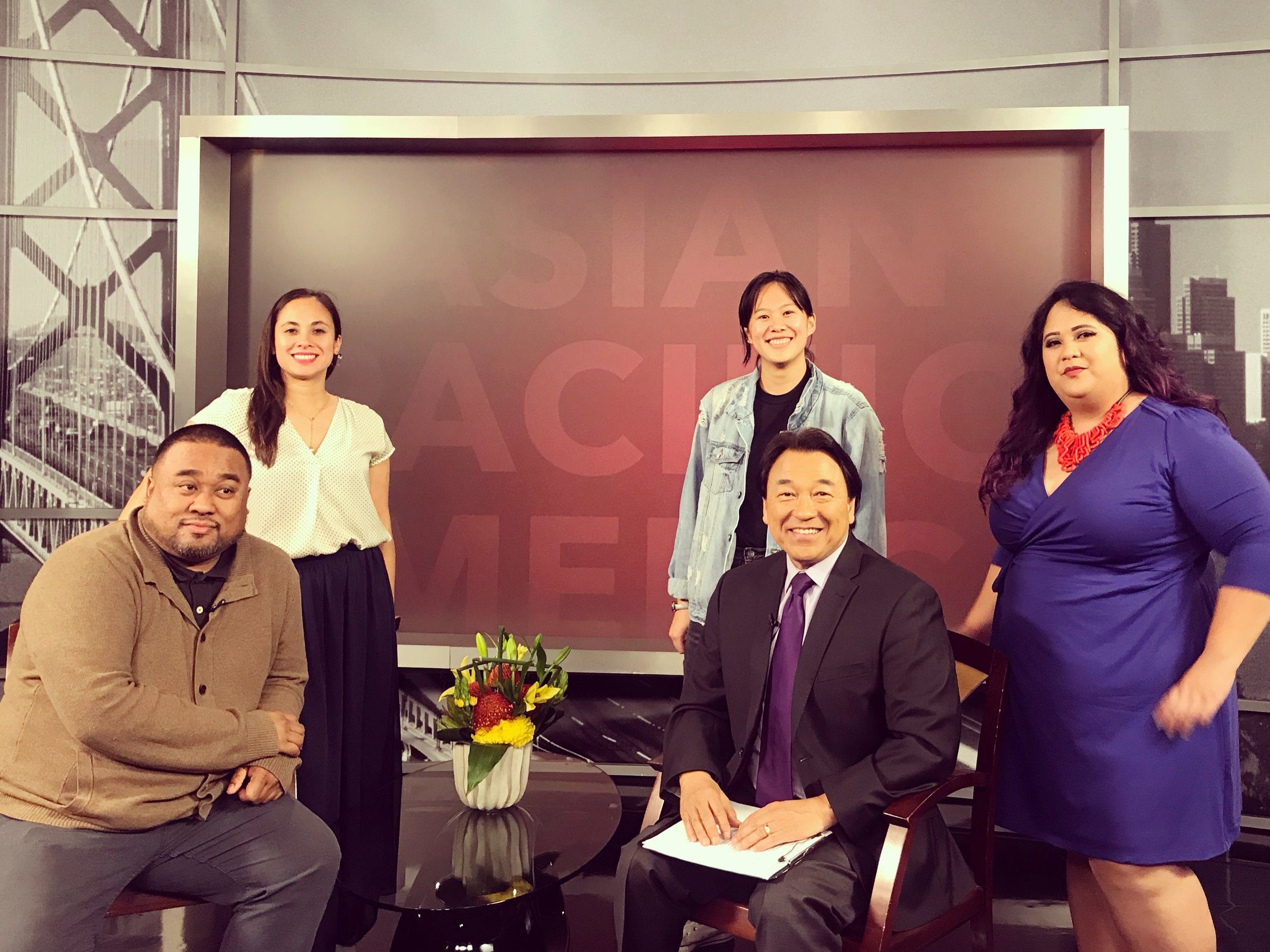 PapaLoDown team (Paloma Concordia, Jenna Peng), Jason Bayani (artist and Program Director of Kearny Street Workshop), Melanie Elvena (API Cultural Center), at the NBC Bay Area studios for the Asian Pacific America show hosted by reporter Robert Handa.