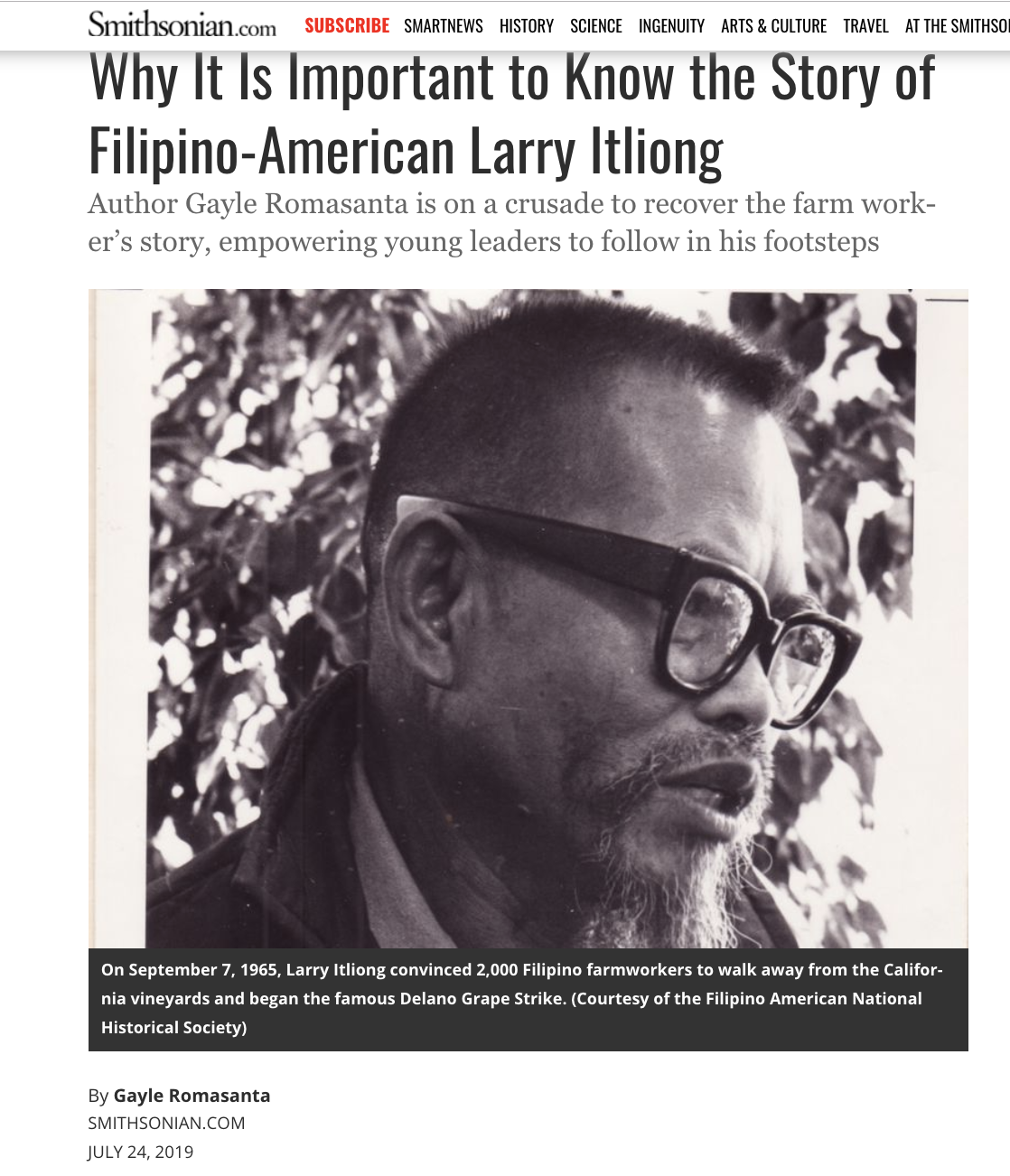 'Journey For Justice: The Life of Larry Itliong' featured in Smithsonian Magazine.