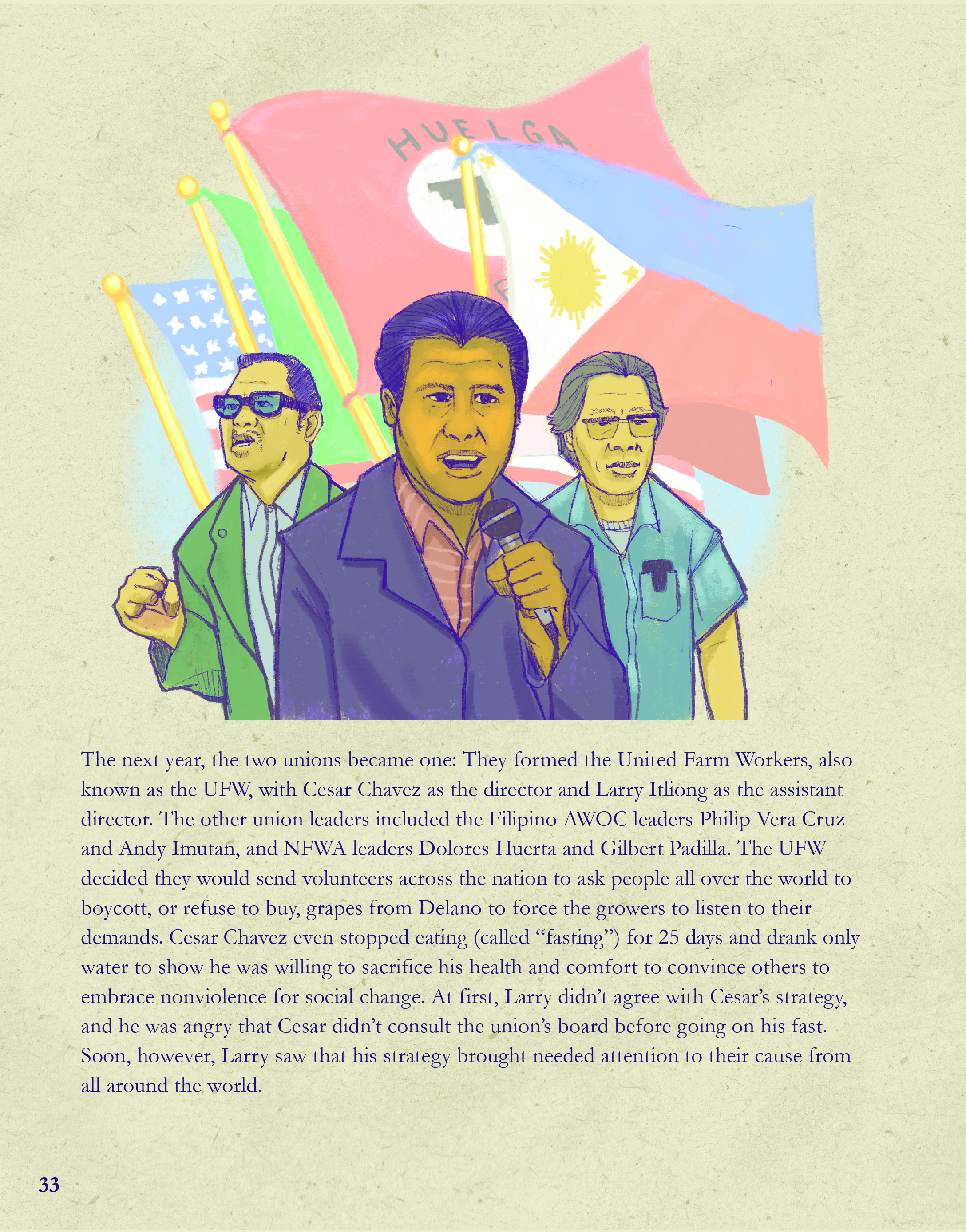 A page from Journey For Justice: The Life of Larry Itliong. Illustrated by André Sibayan.