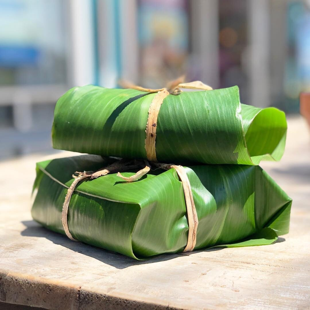 The stacked Protein Sandwich I ordered was beautifully wrapped in a ti leaf. Gets the job done better than paper and foil AND makes you feel extra special. Photo credit:  @mokuroots