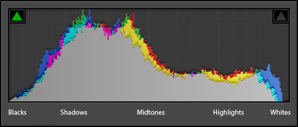 An example of a histogram, with luminance ranges labeled. (Source: photographylife.com)
