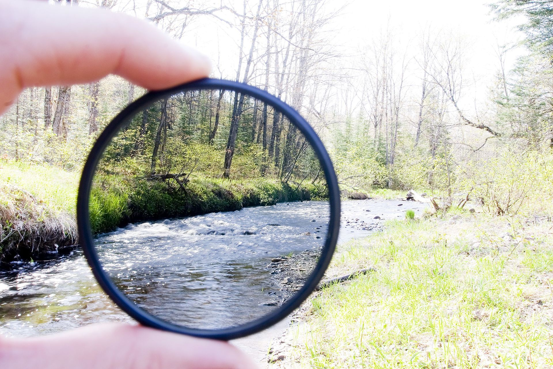 A neutral density filter. The photo was exposed for the light passing through the ND filter. (Source: Wikipedia. By Robert Emperley from Strasbourg, Alsace, France - silver falls 21Uploaded by NotFromUtrecht, CC BY-SA 2.0, https://commons.wikimedia.org/w/index.php?curid=14911371)